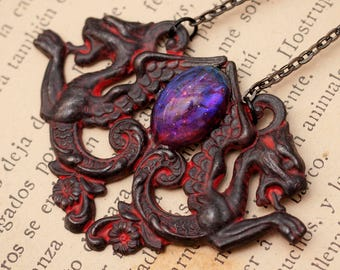 Dragons Breath Necklace, Dragon Necklace, Dragon Pendant, Fantasy Necklace, Elven Necklace, Larp Necklace, Larp pendant, Dragon jewelry