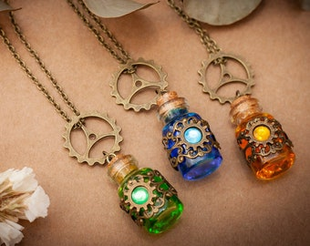 Steampunk Bottle Necklace, Steampunk Pendant, Potion Necklace, Steampunk cosplay, Magic Potion Pendant, Fantasy necklace Alternative jewelry