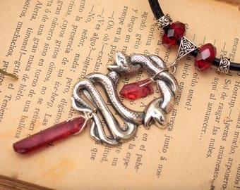 Snake Twins necklace, Fantasy Jewelry, Fantasy Necklace, Gothic Necklace, Quartz Necklace, Snake Jewelry, Snake Pendant, Red Quartz, Goth