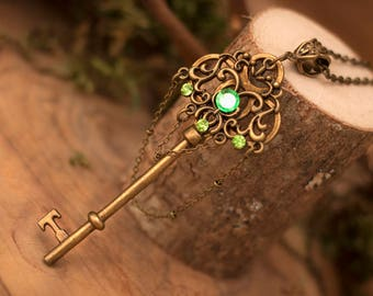 Forest Key Necklace, Fantasy Key Necklace, Fairy Necklace, Magical Necklace, Elven Necklace, Witch Necklace, Steampunk Key, Fantasy Necklace