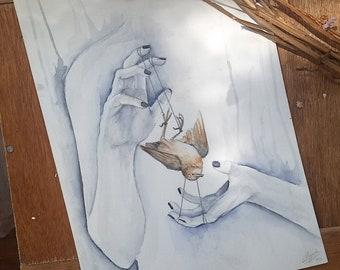 Witchcraft Watercolor Painting, Dark Art, dark watercolor painting, original painting, skull painting, taxidermy painting, taxidermy drawing