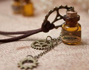 Steampunk Gears bottle necklace, Halloween jewelry, Steampunk pendant, vial pendant, steampunk poison, cute necklace, christmas gift