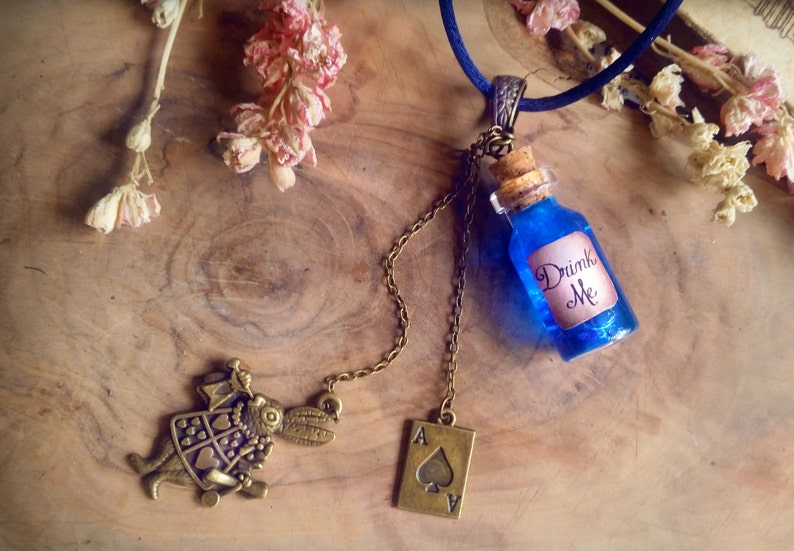 Alice in Wonderland Necklace Drink Me Necklace Bottle charm image 0