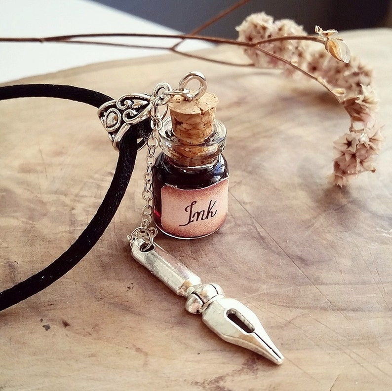 Ink Well  Bottle Necklace Halloween jewelry Tattoo Artist image 0