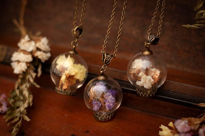 miniature terrarium jewelry Dried Lavender Bottle pendant dried flower necklace romantic Necklace vial necklace lavender necklace