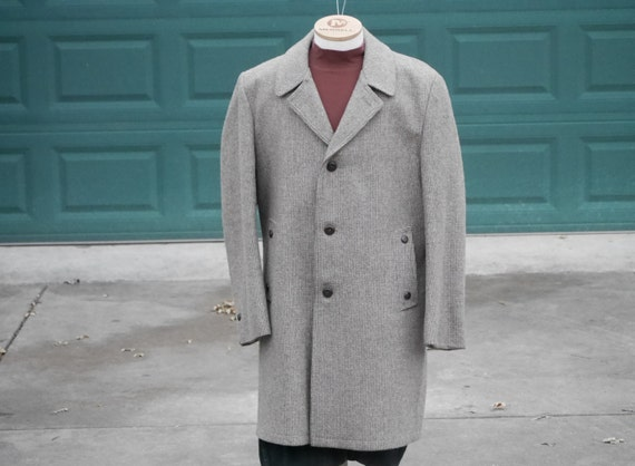 Casualcraft Gray Tweed Topcoat, Wool, size 46L, Ex