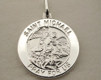 9986d432f69 Personalised Silver St Michael Patron Saint of Police Officers & Military  Personnel Pendant Medal + Chain Option - Gift Religious Jewellery