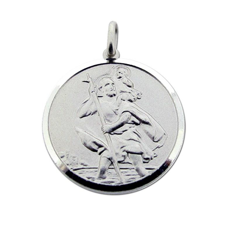 de5e46e164f Personalised Silver St Christopher Medal Pendant 18mm 27mm   Etsy