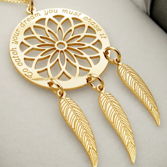Dreamcatcher Necklace 9ct Gold Plated Personalised Dream Etsy