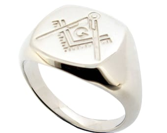 Silver Masonic Chapter Ring Men's Freemason Signet Ring  - Masonic Freemasons Gift for Him for Men