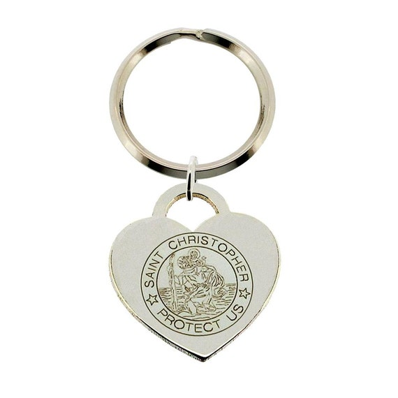 925 Sterling Silver St Christopher Heart Keyring Key Chain  e993c47dc3