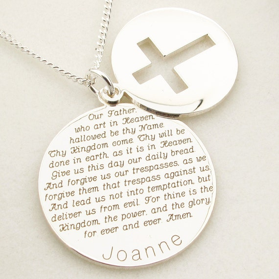 STERLING SILVER THE LORDS PRAYER DOG TAGS CHARM PENDANT INGOT CHAIN GIFT BOX