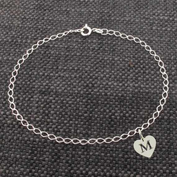 STERLING SILVER /& PERSONALISED COPPER HEART CHAIN BRACELET ANKLE CHAIN ANKLET