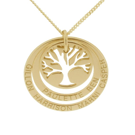 9ct Gold Family Tree Of Life Family Names Necklace Double Disc Etsy