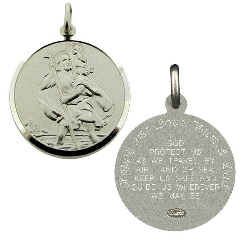 bcaf9179deeeb St Christopher Medal & Travellers Prayer - Personalised Option Saint  Christopher 24mm - Personalized Religious Gift for Him Men Son