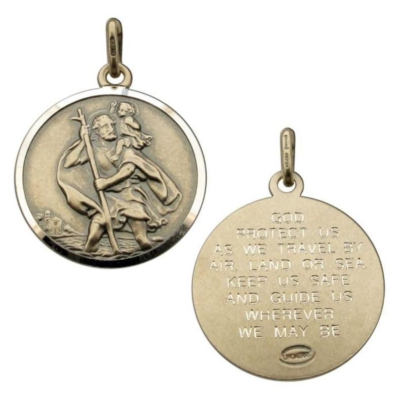 925 Silver Antique Finish St Christopher Pendant Travellers Prayer Chain Option