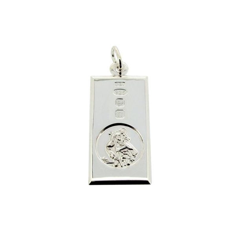St Christopher Small Solid Silver Ingot Pendant Hallmark Feature /& Personalised Engraving Silver Curb Chain Option custom engraved