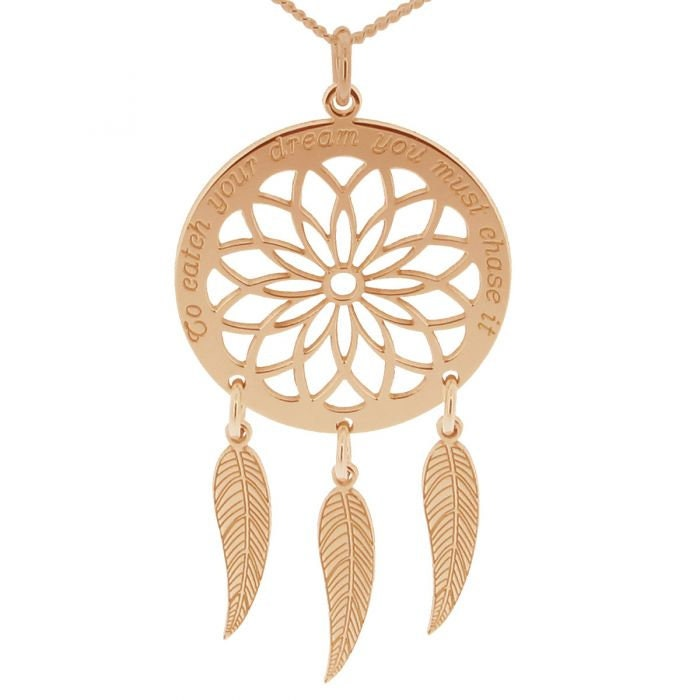 Dream Catcher Necklace Rose Gold Dreamcatcher Personalised