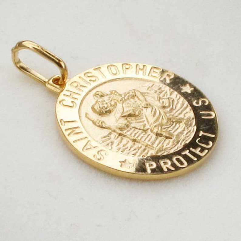 9347290c01a Solid 9ct Gold St Christopher Medal Pendant Necklace 18mm   Etsy