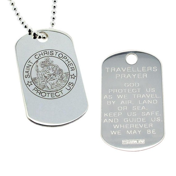 """Stainless Steel St Christopher Dog Tag Pendant on 18/"""" Chain with Prayer on Back"""