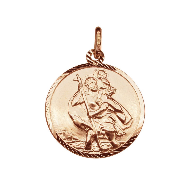 00a29e20e02 Rose Gold Plated St Christopher Diamond Cut Pendant or   Etsy