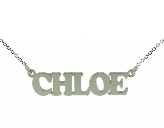 """18/"""" Personalised 9ct ANY NAME Necklace Nameplate Pendant Small Curb Chain 16/"""""""
