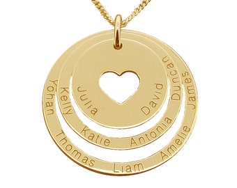 9ct Gold Family Name Necklace Cut Out Heart 3 Rings Disc PENDANT OR NECKLACE - Mother's Pendant Necklace - Gift for Mum Mom Women