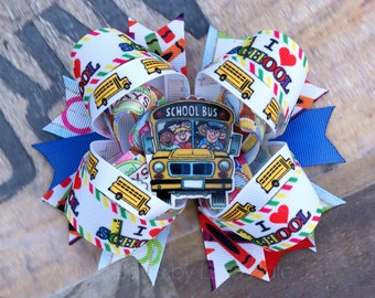 Made to order Back to School themed school bus Girls kids child boutique hair bow hairbow clip clippie photography school accessory