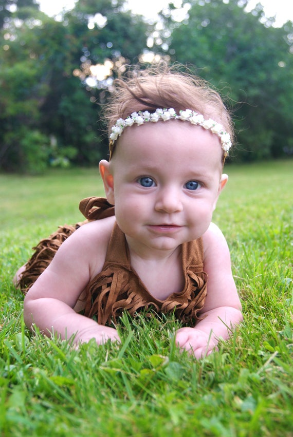 fait sur commande fait main et strass fleur chaîne halo bandeau enfant enfant filles bébé vintage photographie prop boho hippie de mariage