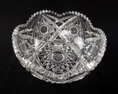 Circa 1910 American Brilliant Period Cut Glass Bowl Gundy-Clapperton Company Trefoil Mark Libbey Glass Apprentice Canada 8.25 quot Diameter