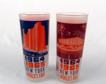 Pair of 1964 New York World's Fair Souvenir Drinking Glasses Hall of Science & The Federal Pavilion Fair Memorabilia