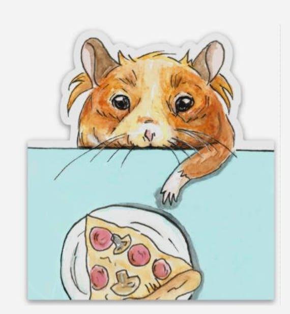 Winnie Hamster with a Slice of Pizza Original Custom Vinyl Die-Cut Sticker  (1 piece)