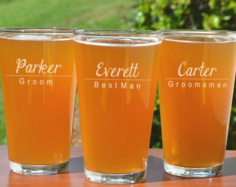 Personalized Pint Glasses, Groomsmen Pint Glass, Wedding Party Pint Glasses, Custom Pint Glass, Beer Pint Glasses, 16oz Glass, Wedding Favor