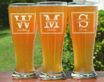 Engraved Beer Mug, Groomsman Gift, Personalized Groomsmen Beer Glasses, Customized Pilsner Glass for Wedding Party, Groomsmen Wedding Favors