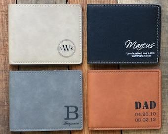 Wedding Gift Dad, Personalized Wallet, 2 Groomsmen Gift, Groomsmen Wallet, Custom Wallet, Monogram Wallet, Wedding Party Gift, Set of 2