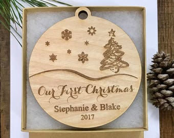 Personalized Our First Christmas Ornament Wood Our First Christmas Married Ornament Newlywed Christmas Ornament Bride and Groom Wedding Gift