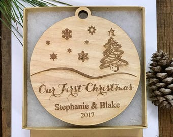 Our First Christmas Ornament, Mr and Mrs Personalized Ornament, Couples Gift, Mr & Mrs Wedding Gift, Engraved Christmas Ornament