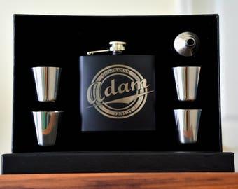 Custom Groomsmen Gifts, 9 Personalized Flasks for Men, Rustic Wedding Favors, Engraved Flask, Best Man Gift, Wedding Table Decor