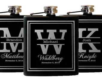9 Personalized Groomsmen Gifts - Custom Engraved Monogram Flasks Liquor Flasks - Groomsman Best Man Groom Gift, Bridesmaids Gift, Bridesmaid