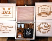 Groomsmen Gift Set of 1 Cigar Box Flask Gift Set Personalized Cigar Box Groomsmen Keepsake Box Personalized Wedding Thank you Gifts for Men