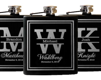flasks 5 groomsmen gifts custom gift groomsmen suit and etsy