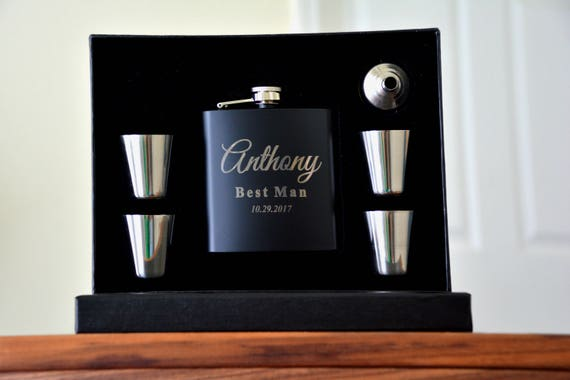6 Groomsmen Wedding Party Gifts Personalized Flasks Etsy
