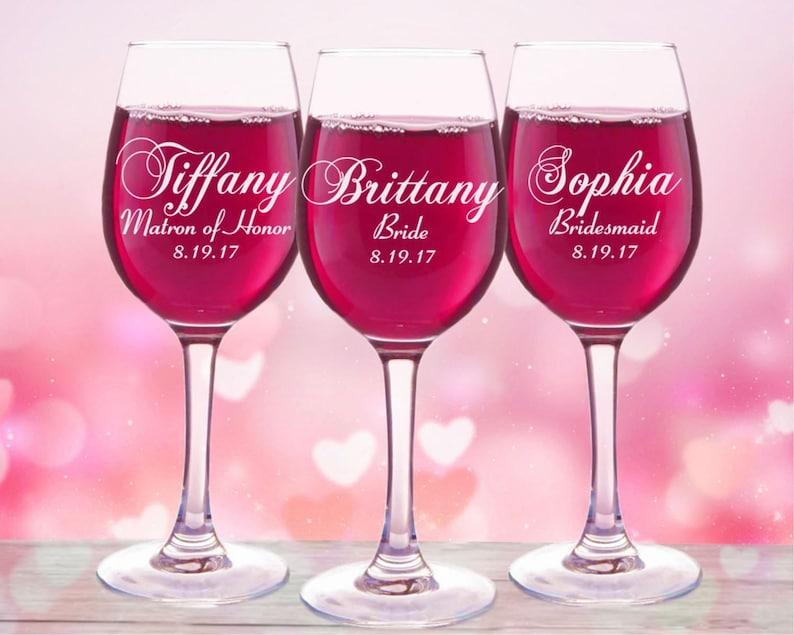 0d12f73e1bb 7 Bridesmaids Personalized Wine Glass Set of 7 Bridesmaid image 0