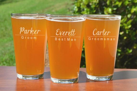 Engraved Beer Glass Groomsmen Glass Groomsmen Gift Ideas Etsy