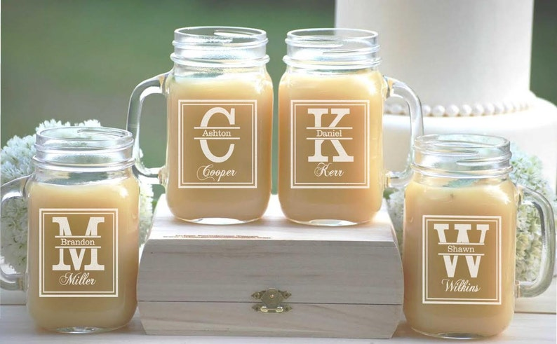 Set Of 4 Groomsmen Gift Personalized Mason Jar Mugs Wedding Etsy
