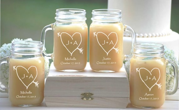 Wedding Party Mason Jars Personalized Mug With Handle Rustic Wedding Bridesmaid Gift Etched Mason Jars 8 Sippy Cup