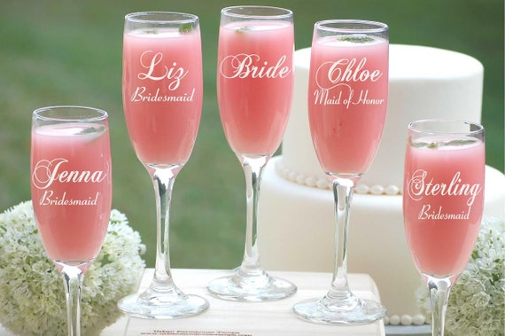 Engraved Wedding Party Gifts: 8 Bridesmaid Gifts Personalized Champagne Flutes Bridal