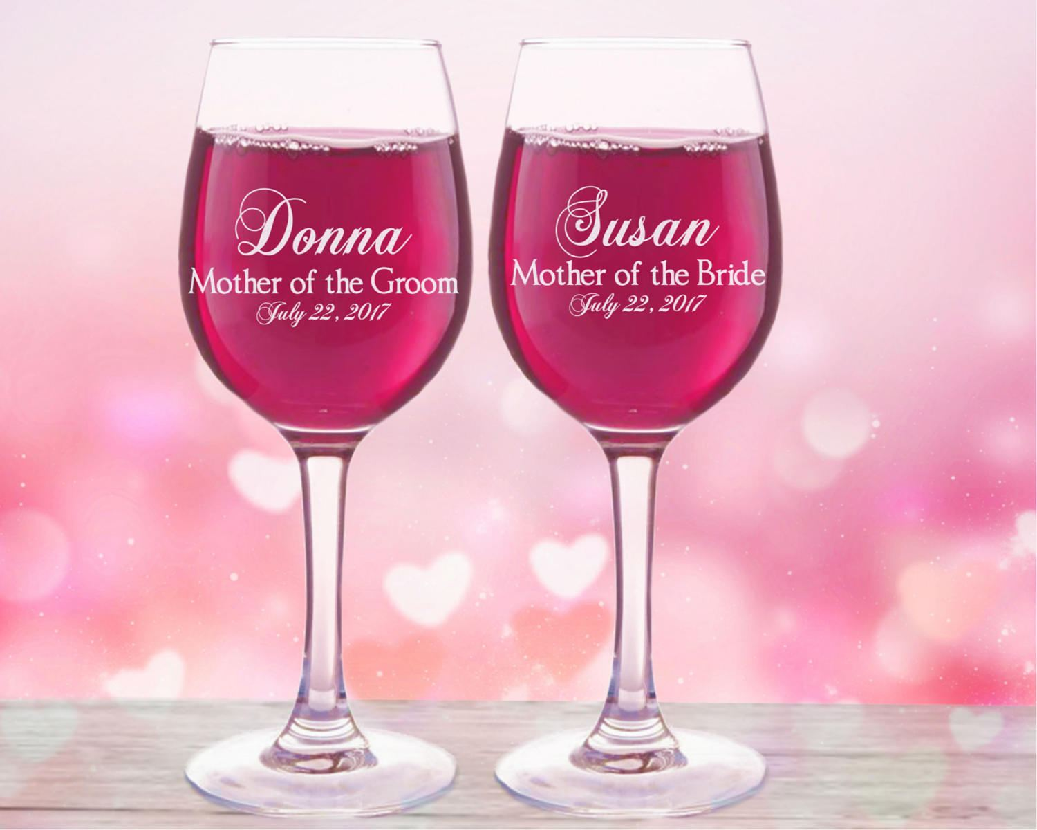 Mother of the Bride Gift Personalized Wine Glasses Mother of