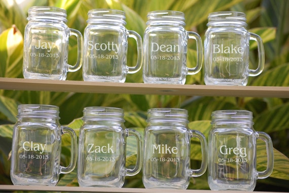 8 Wedding Party Personalized Mason Jar Mugs Wedding Favors Etsy