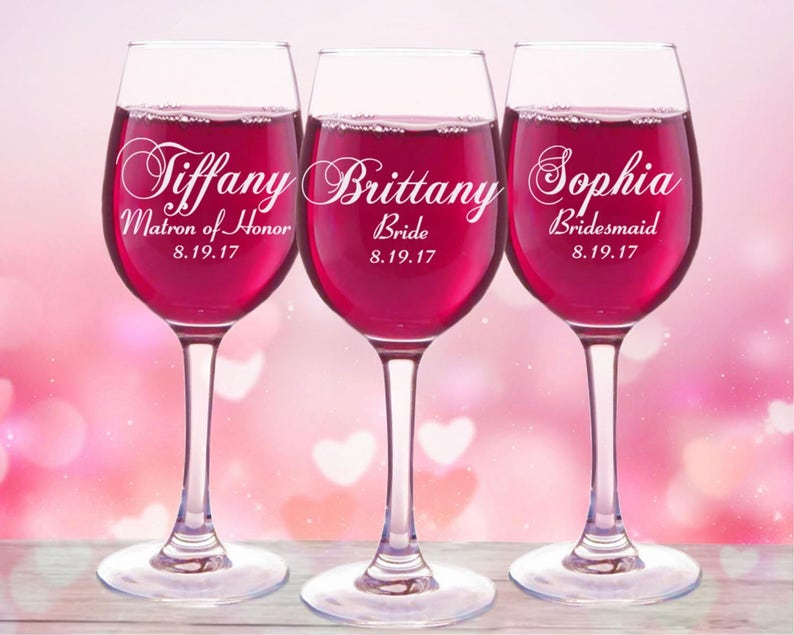 6201b958663 Bridal Party Wine Glasses Personalized Wedding Gift Custom image 0